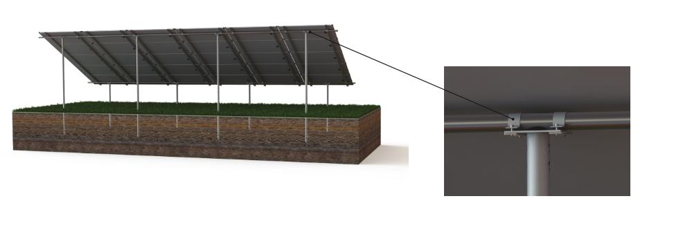 Solar panel with screw piles